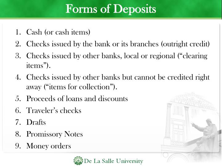 Forms of Deposits