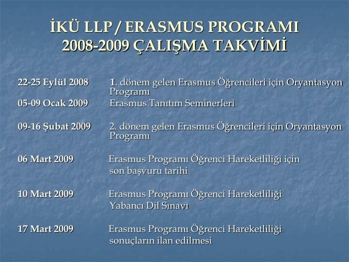 İKÜ LLP / ERASMUS PROGRAMI