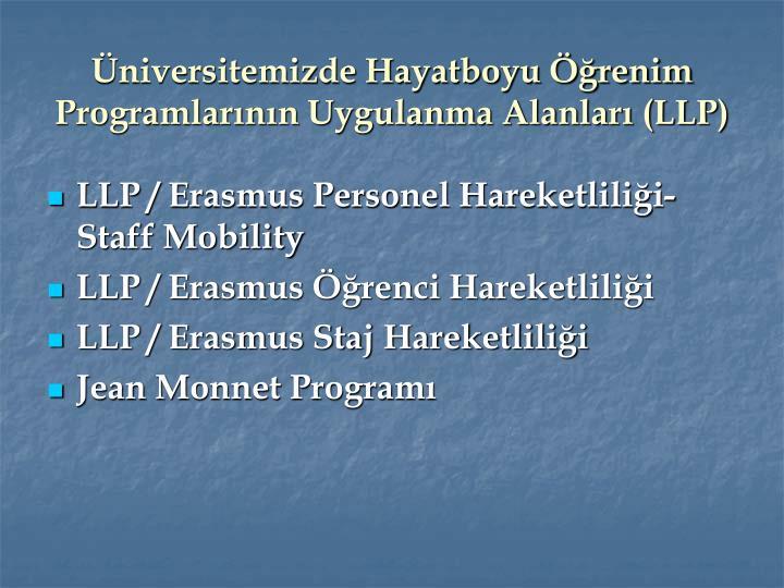 Üniversitemizde Hayatboyu Öğrenim Programlarının Uygulanma Alanları (LLP)