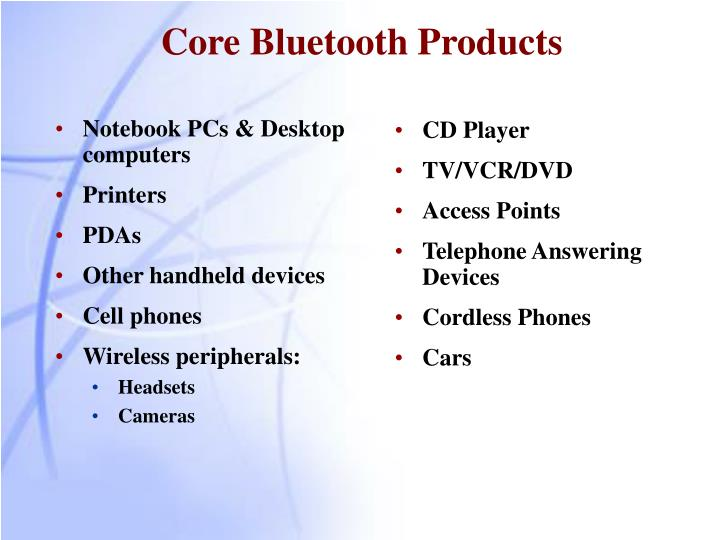 Core Bluetooth Products