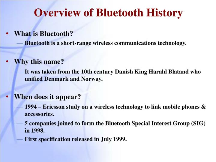 Overview of Bluetooth History
