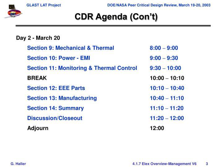 CDR Agenda (Con't)