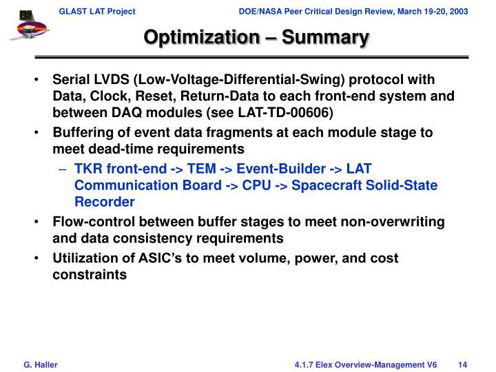 Optimization – Summary