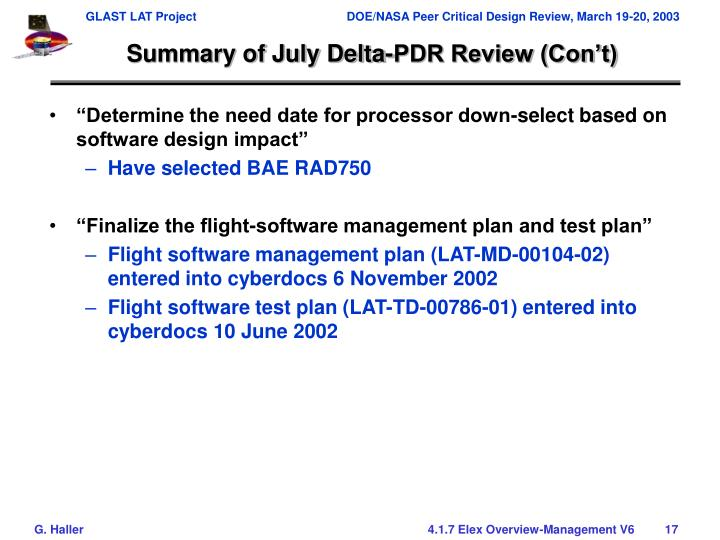 Summary of July Delta-PDR Review (Con't)