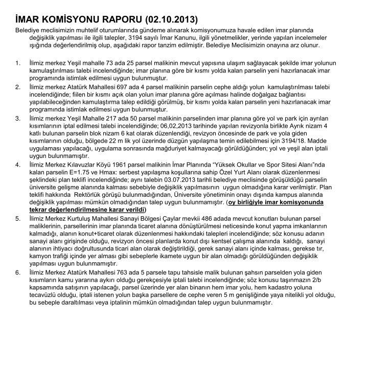 İMAR KOMİSYONU RAPORU (02.10.2013)