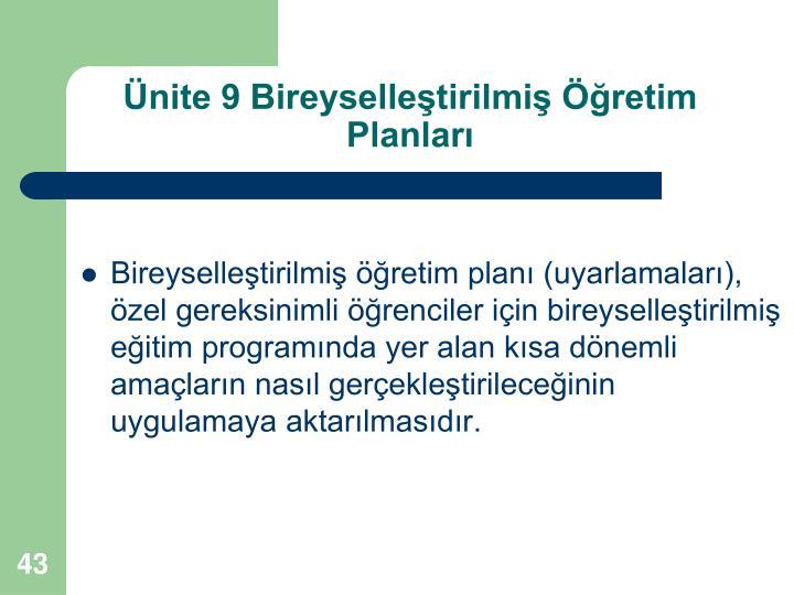 Ünite 9 Bireyselleştirilmiş Öğretim Planları