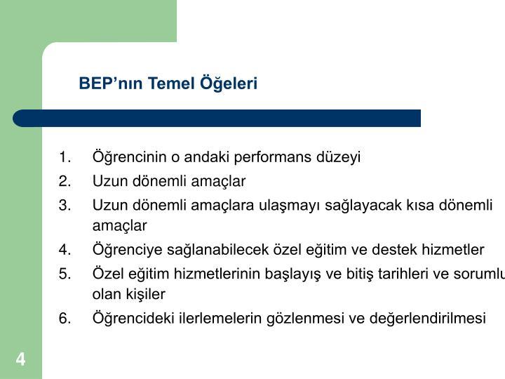 BEP'nın Temel Öğeleri