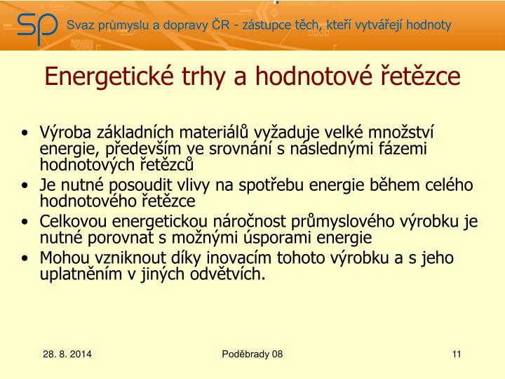 Energetické trhy ahodnotové řetězce