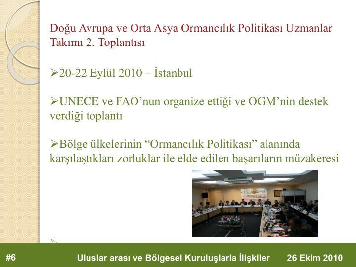 Doğu Avrupa ve Orta Asya Ormancılık Politikası Uzmanlar Takımı 2. Toplantısı