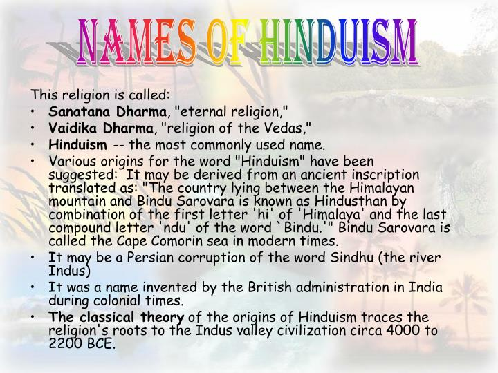 Names of hinduism