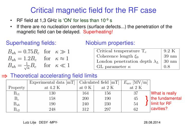 Critical magnetic field for the RF case