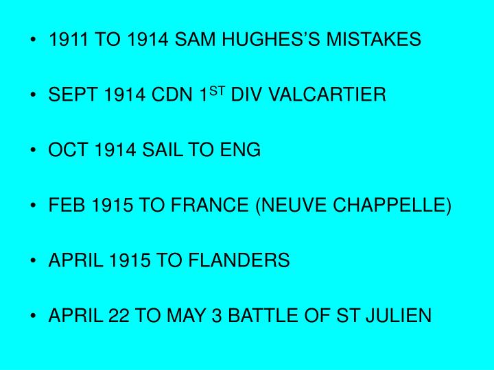 1911 TO 1914 SAM HUGHES'S MISTAKES