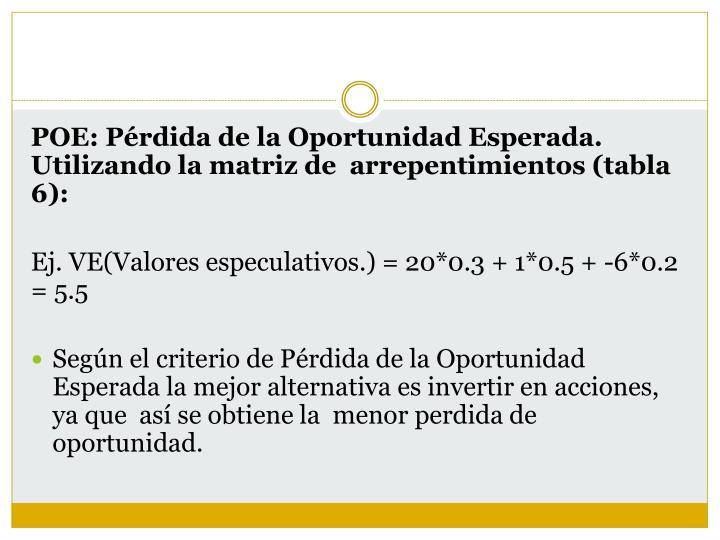 POE: Pérdida de la Oportunidad Esperada. Utilizando la matriz de  arrepentimientos (tabla 6
