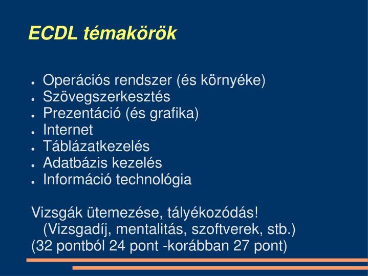 ECDL témakörök