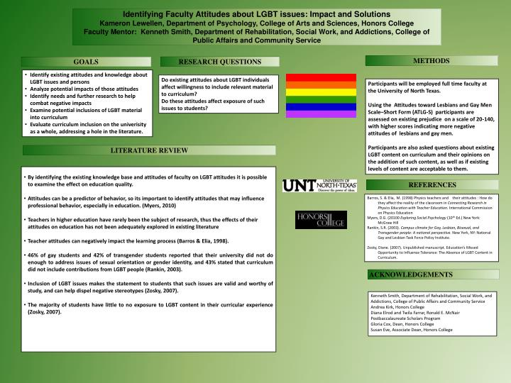 Identifying Faculty Attitudes about LGBT issues: Impact and Solutions