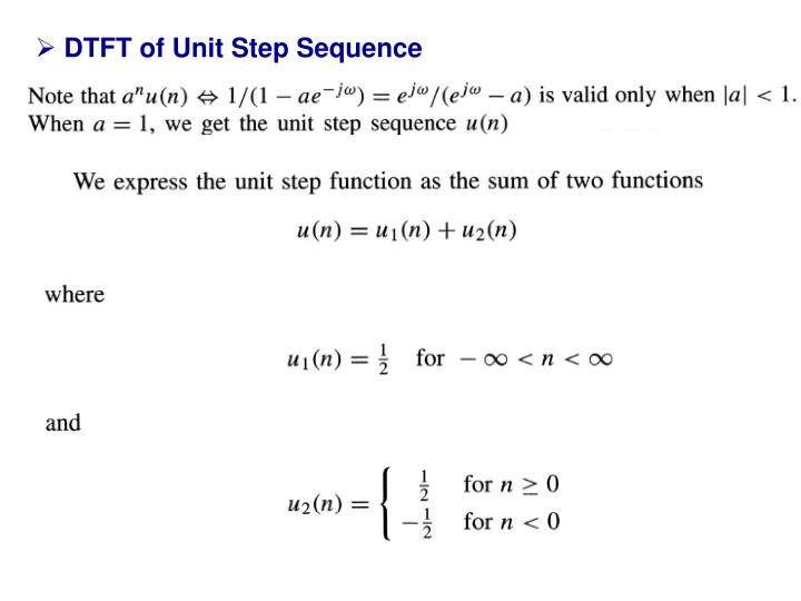 DTFT of Unit Step Sequence