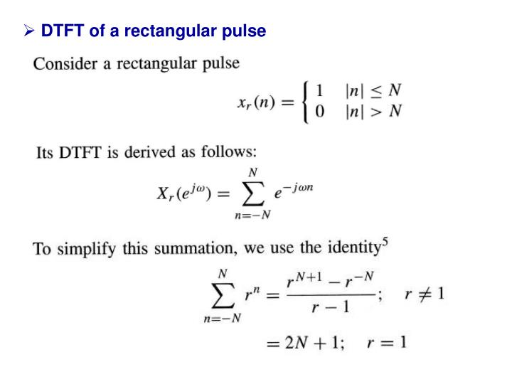 DTFT of a rectangular pulse