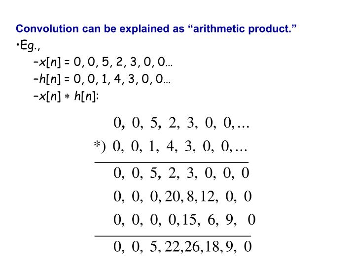 "Convolution can be explained as ""arithmetic product."""