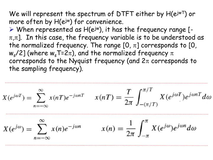 We will represent the spectrum of DTFT either by H(e
