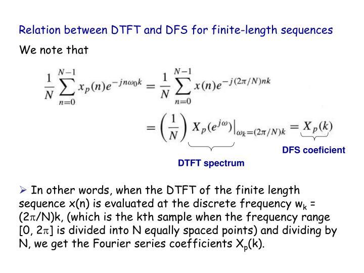 Relation between DTFT and DFS