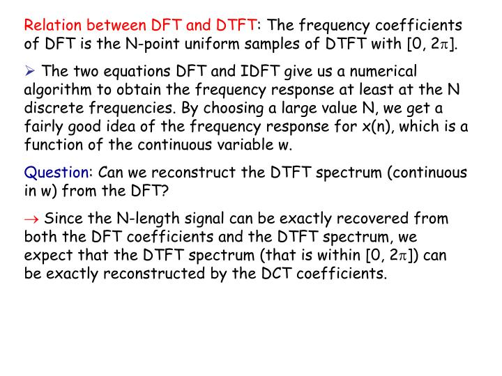 Relation between DFT and DTFT