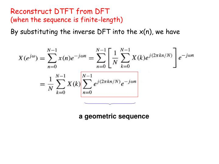 Reconstruct DTFT from DFT
