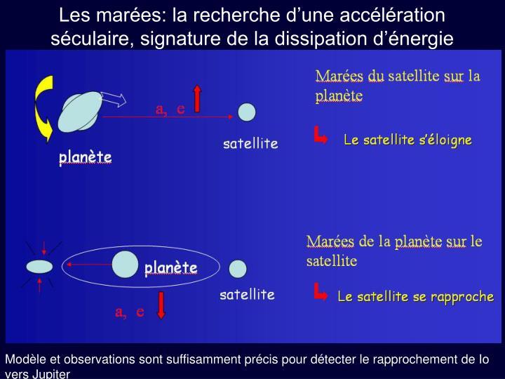 Les marées: la recherche d'une accélération séculaire, signature de la dissipation d'énergie