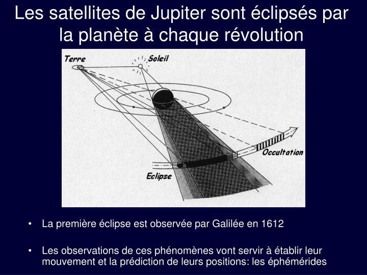 Les satellites de Jupiter sont éclipsés par la planète à chaque révolution