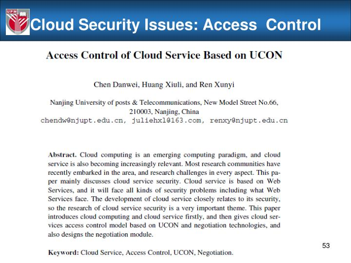 Cloud Security Issues: Access  Control