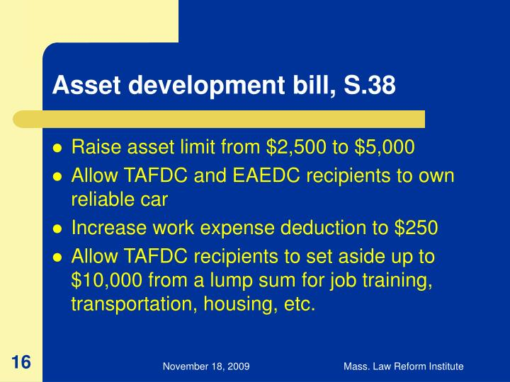 Asset development bill, S.38