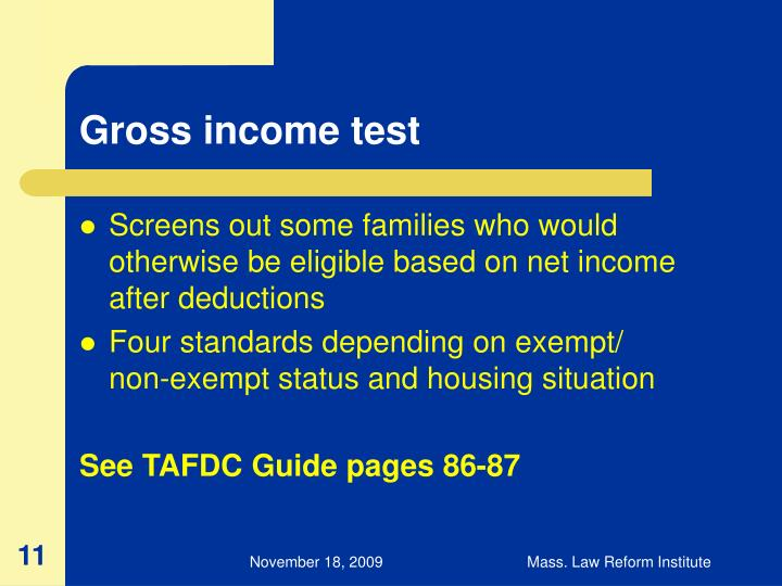 Gross income test