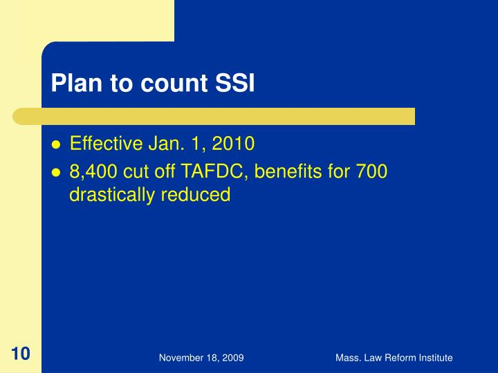 Plan to count SSI
