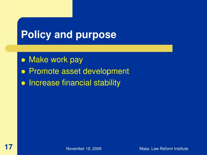 Policy and purpose
