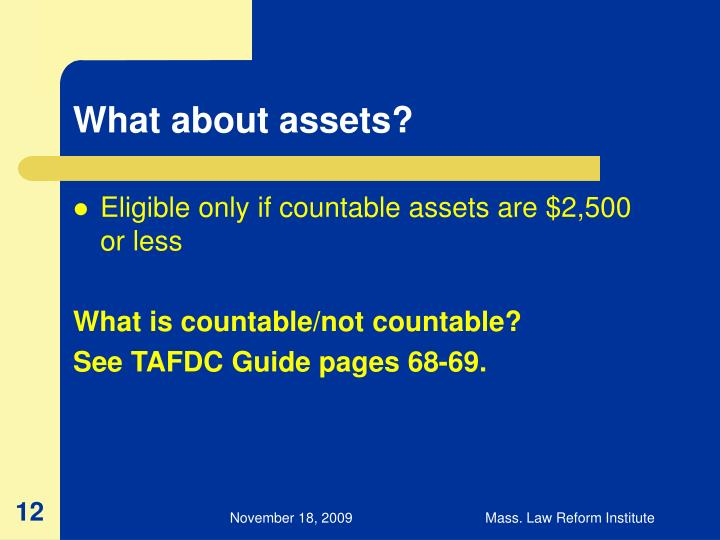 What about assets?