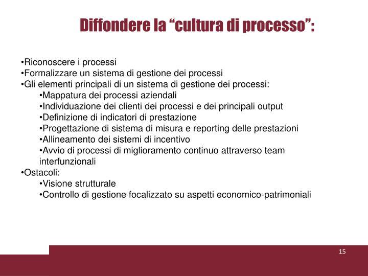 """Diffondere la """"cultura di processo"""":"""