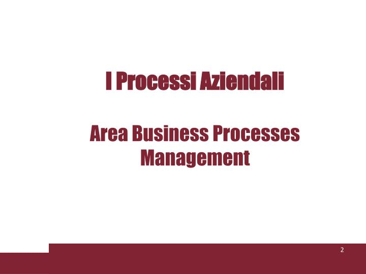 I processi aziendali area business processes management