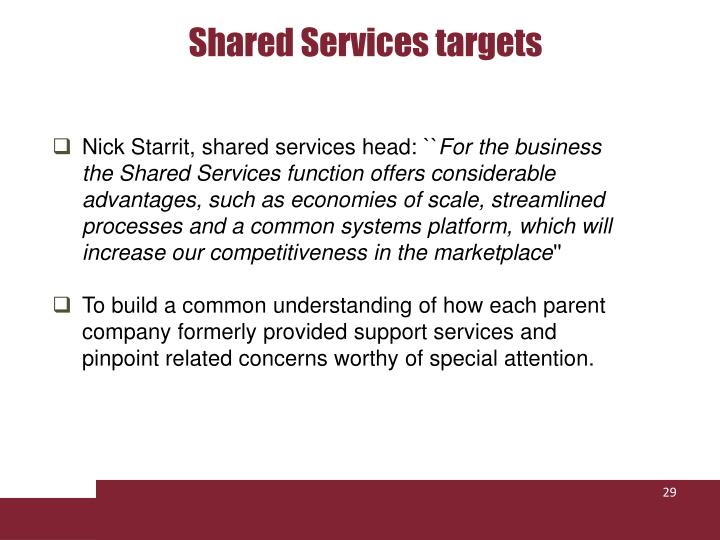Shared Services targets
