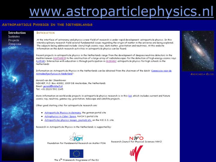 www.astroparticlephysics.nl