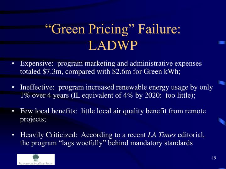 """Green Pricing"" Failure: LADWP"
