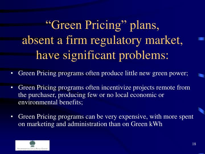 """Green Pricing"" plans,"