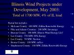 illinois wind projects under development may 2003 total of 1700 mw 4 of il load