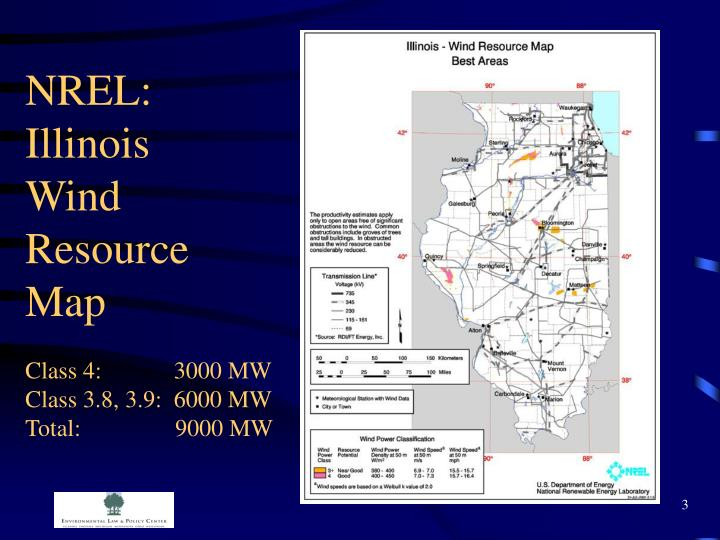 Nrel illinois wind resource map class 4 3000 mw class 3 8 3 9 6000 mw total 9000 mw