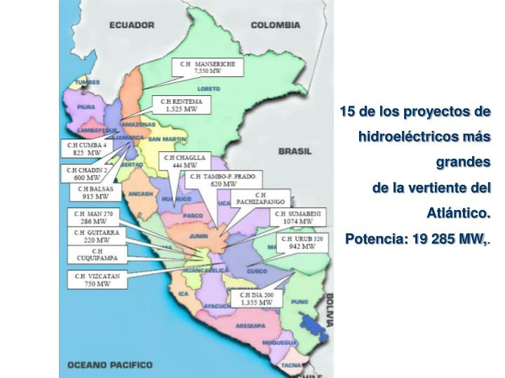 15 de los proyectos de  hidroeléctricos