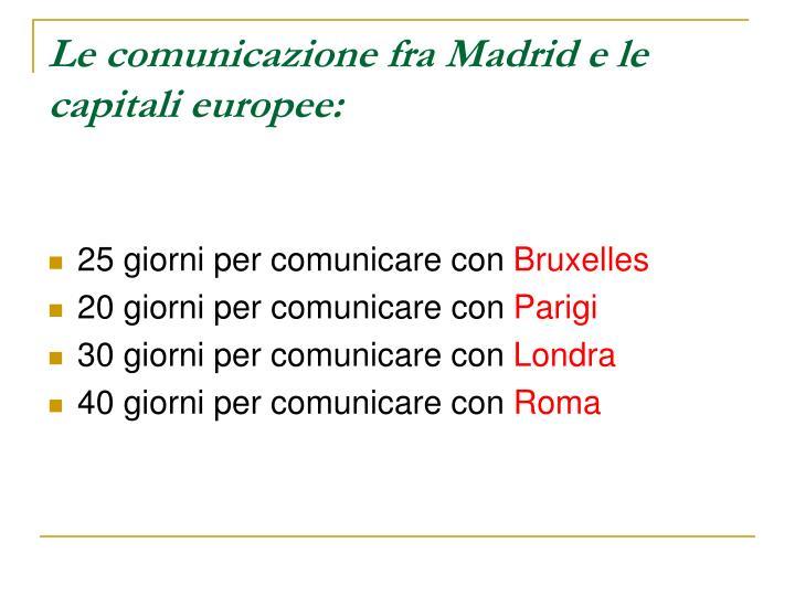Le comunicazione fra Madrid e le capitali europee: