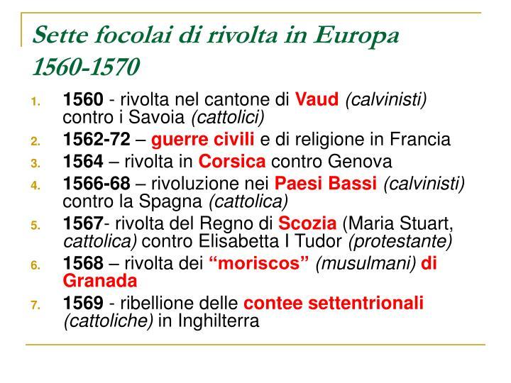 Sette focolai di rivolta in Europa