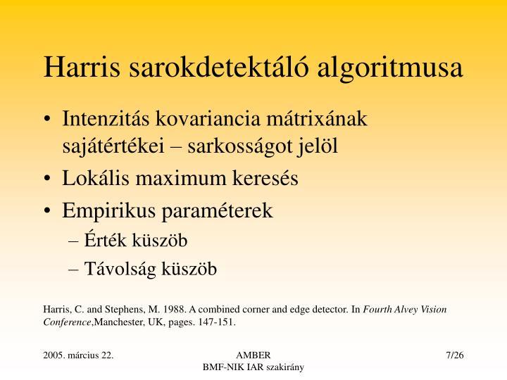 Harris sarokdetektáló algoritmusa