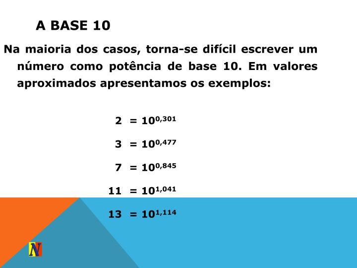 Na maioria dos casos, torna-se difícil escrever um número como potência de base 10. Em valores aproximados apresentamos os exemplos: