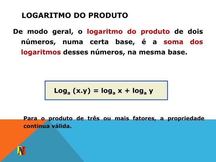 Logaritmo do produto