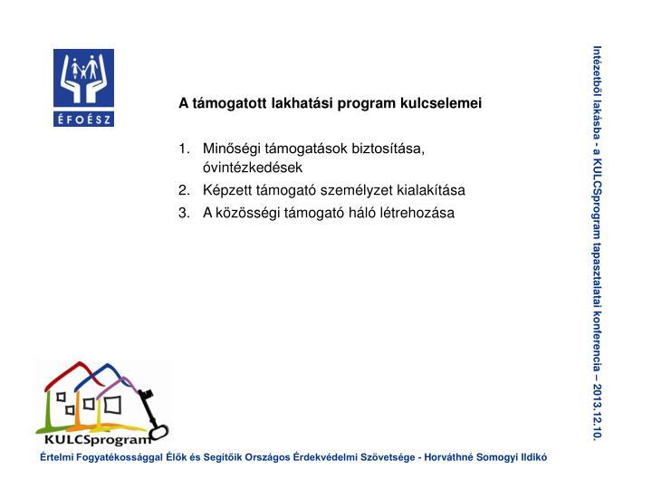 A támogatott lakhatási program kulcselemei