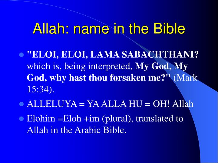 Allah: name in the Bible